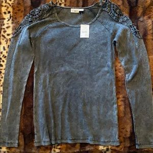 NWT charcoal,long sleeve,intricate cutout shoulder